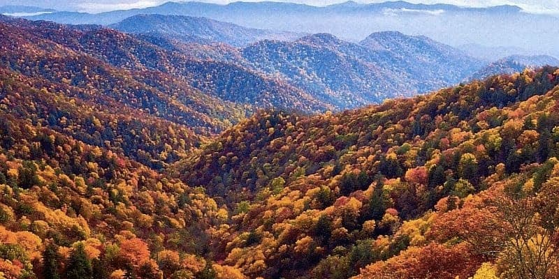 smoky mountains during the changing fall colors season