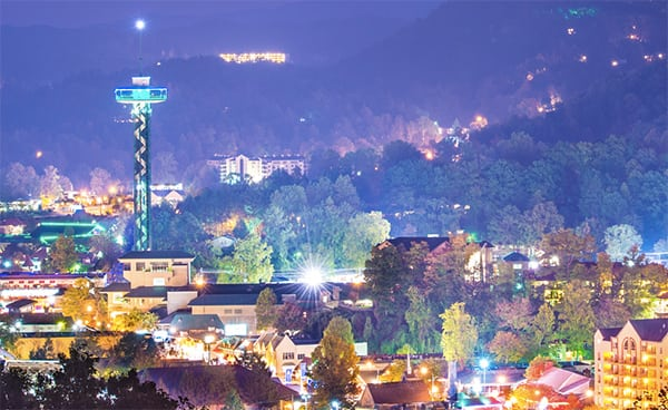 night time view of gatlinburg