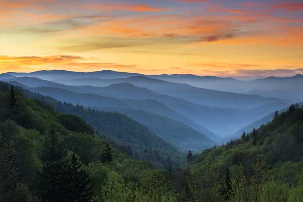sunrise over the great smoky mountains
