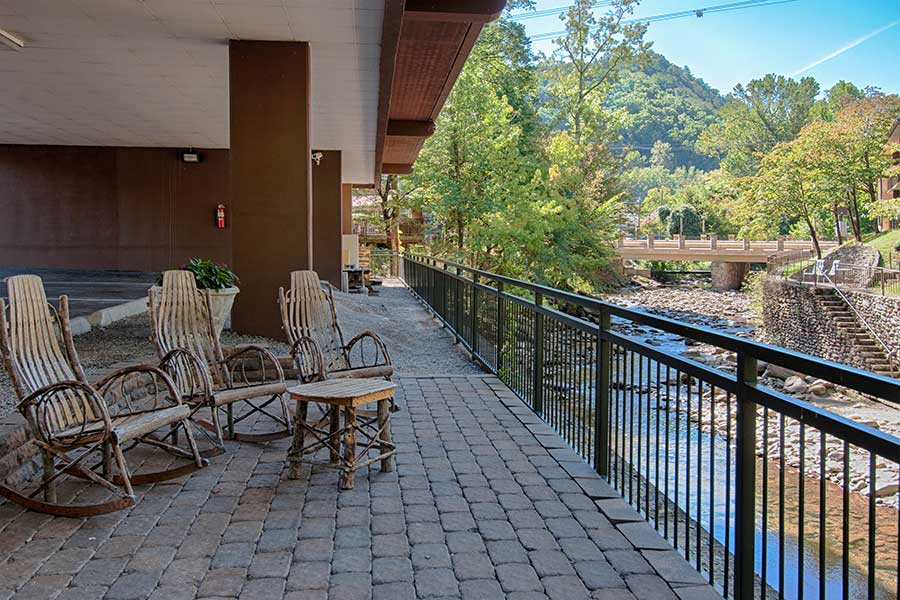 The scenic back patio at Old Creek Lodge in Gatlinburg.